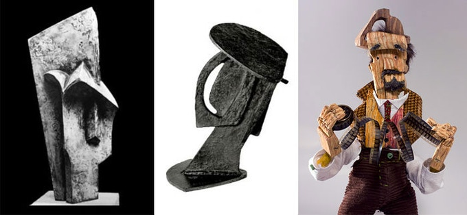 """""""Head""""· by Jacques Lipchitz (1915), """"Head: Construction With Crossing Planes"""" by Alexander Archipenko (1913), and The Photographer"""
