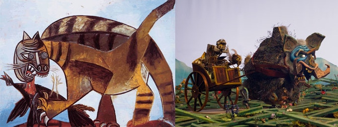"""""""Cat Devouring a Bird"""" by Pablo Picasso (1939) & a Boar pulling a carriage"""