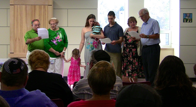 "A beautiful brit shalom in America—with ""Celebrating Brit Shalom"" families will be able to hold elegant prayer books at their brit shalom services."