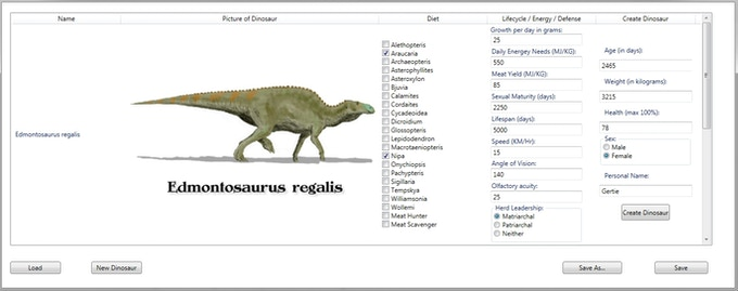 Some of the detailed information that the user can adjust for each species.