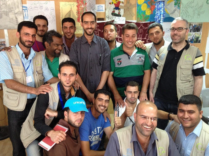 George Mathew with Questscope staff and mentors at Za'atari