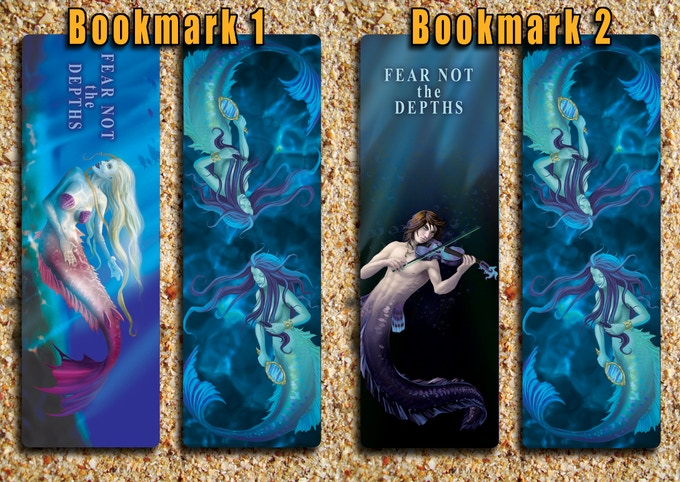 """Front and back of both bookmarks. Bookmarks are 2"""" x 6"""""""