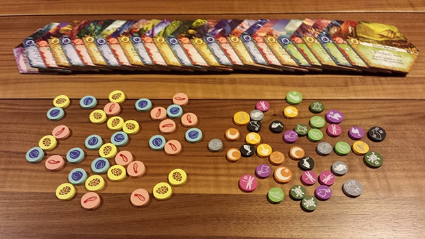 Punched tiles and colorful tokens