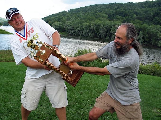 "Current Guinness World Record Holder Russ ""Rock Bottom""Byars (Left) and former record holder Kurt ""Mountain Man"" Steiner (Right)."