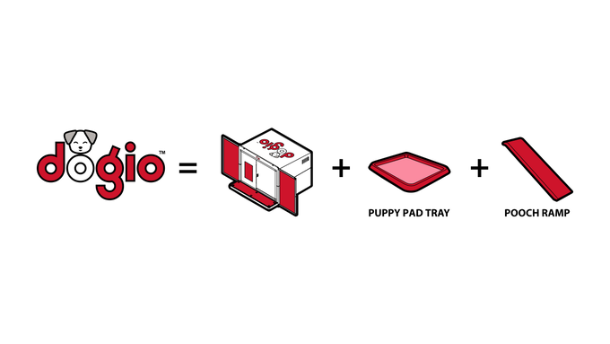 Dogio comes with a Pee Pad Tray & Ramp