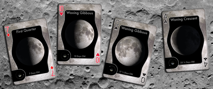 The 7 of diamonds shows the first quarter moon. The 10 of hearts shows a waxing gibbous, 10 days old. The queen of spades shows a waning gibbous moon. The four of clubs shows a waning crescent moon 25 ½ days old - 4 days before the next new moon.