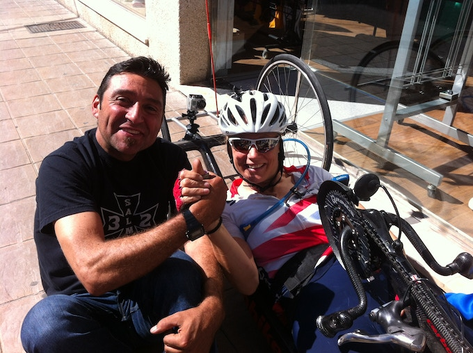 Jose Manuel and I agreeing to do the last ironman of his IMPOSSIBLE365 year together