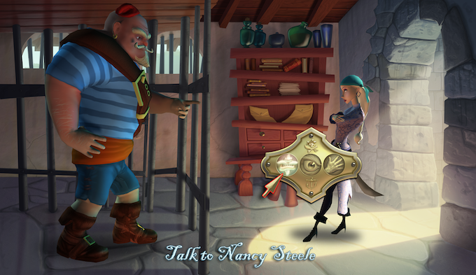Sheriff Nancy Steele disciplines Duke when he misbehaves. (Sharp-eyed viewers may recognize this background as an homage to Monkey Island 2!)