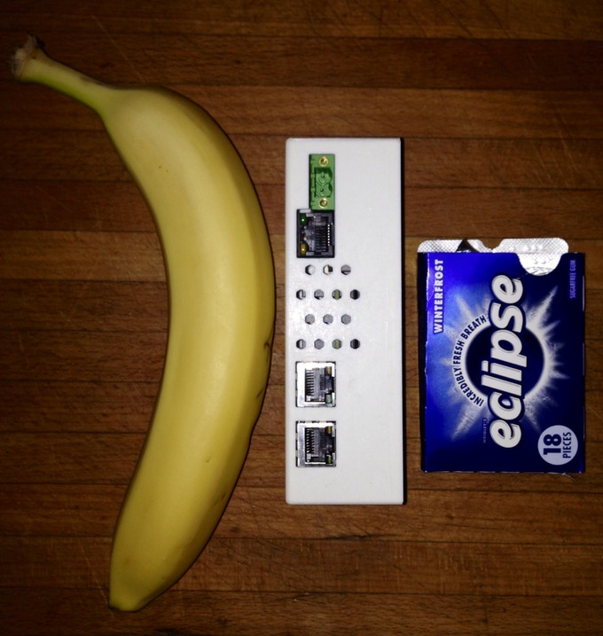 The iGuardian prototype is smaller than a banana and barely bigger than a pack of gum!
