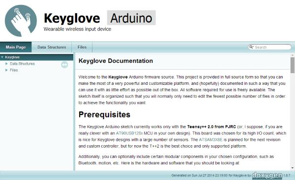 Keyglove arduino documentation