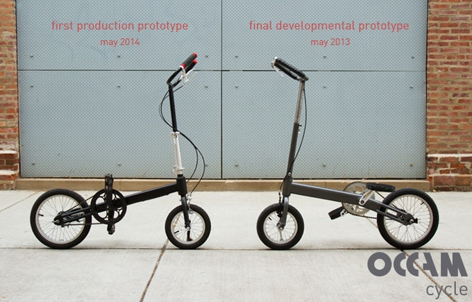 Production prototype on the left, developmental prototype (Levi-Cycle) used for campaign video on the right
