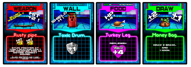 Items come in four types: Weapon, Wall, Food, and Draw.