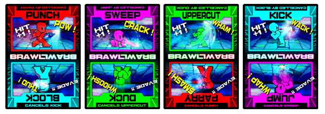 Players lay BRAWL cards face-down in front of their corrensponding Fighters and then flip to see what happens. It's more than a rock-paper-scissors gimmick--this is a game of strategy, timing, guesswork, and outwitting the player across from you!