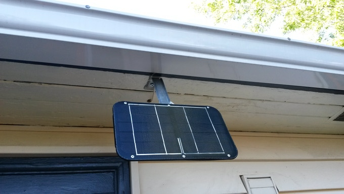Solar panel installed under and eave