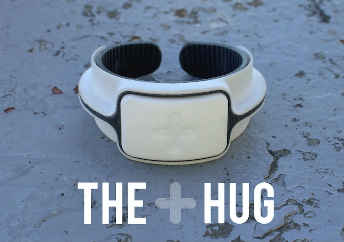 The Hug sensor band. (note: The Charcoal Grey colour will be somewhat lighter in final manufactured Hugs than the dark grey colour of this prototype).