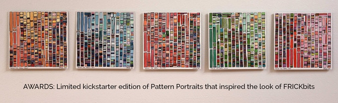 """Limited kickstarter edition of 8x8"""" Pattern Portraits, yellow, blue, flesh, green and pink. Gorgeous print on metal, ready to stand or hang directly. This is the work that inspired the look of FRICKbits."""