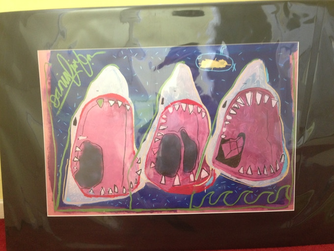 """Danny was also a very talented artist. We are offering a print of his """"Three Shark"""" piece as one of the rewards!"""