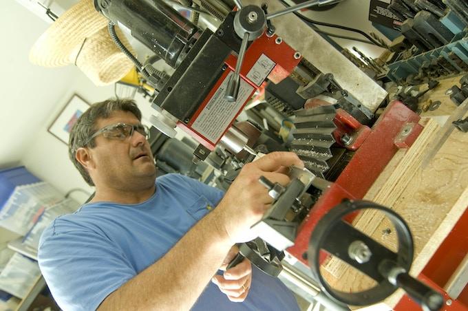 ShutterEaze inventor, Jeff Vasquez, working on the prototypes