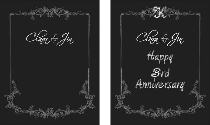 Sample printed bordering and text with handwritten messages added after.  Mark special occasions like Anniversaries and Weddings.  This was our first Message Board to be gifted to someone.