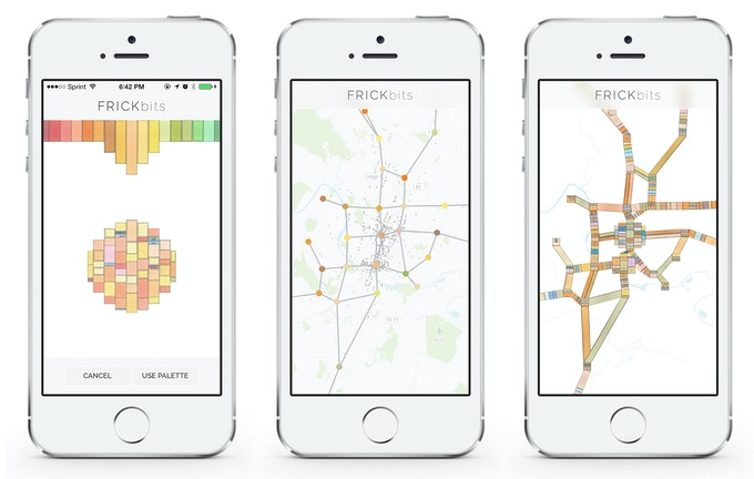 FRICKbits location data accumulates and the pattern gathers richness and texture over time, touch the screen and you shift back and forth from the actual map to art rendering of your travel patterns. Take back your data and turn it into art.