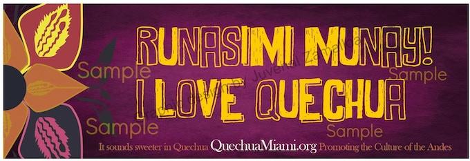 """Runasimi munay"" (I love Quechua), Quechua sticker"