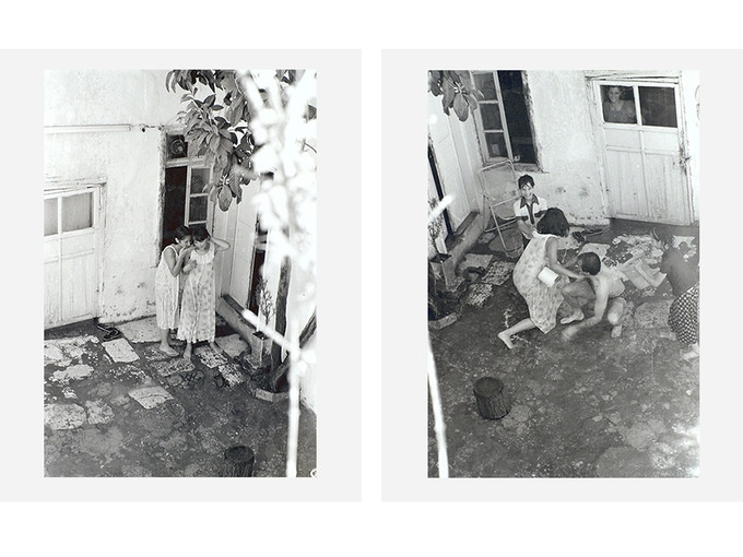 """'No Place to Swim, by Diab Alkarssifi, Baalbeck, 1989', A Lebanese Archive, Ania Dabrowska, 2014, b&w photographic diptych, analogue fibre handprints, each photograph 10"""" x 12"""", unframed, limited edition of 15"""