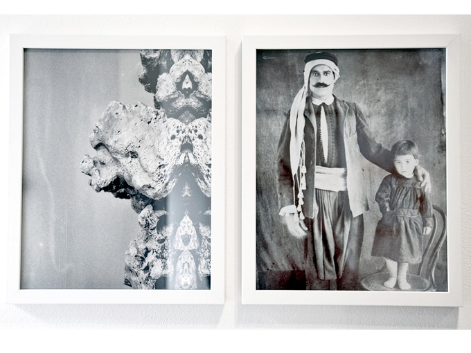 """Diptych 1, 'Father and Rock, from the collection of Diab Alkarssifi', Drift/Resolution series, A Lebanese Archive, Ania Dabrowska, 2013, b&w photographs, digital C-type prints, each photograph 11"""" x 14"""", framed"""