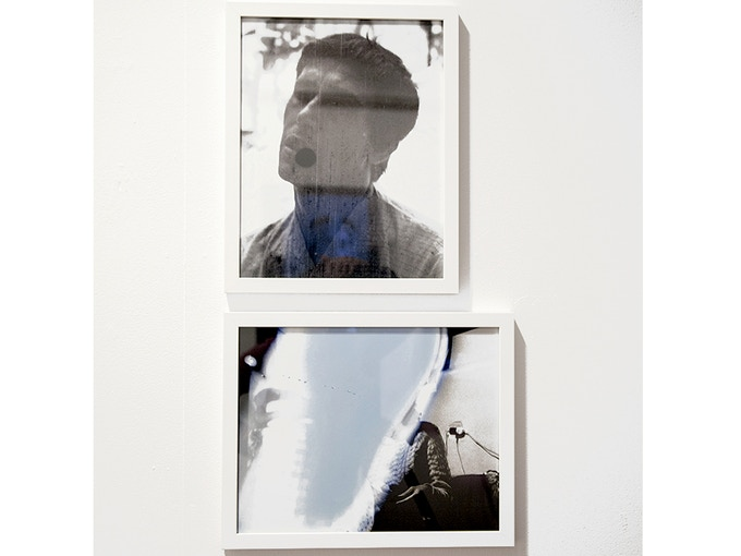 """Diptych 2: 'Man, Woman, Blue, from the collection of Diab Alkarssifi', Drift/Resolution series, A Lebanese Archive, Ania Dabrowska, 2013, b&w photographs, digital C-type prints, each photograph 11"""" x 14"""", framed"""