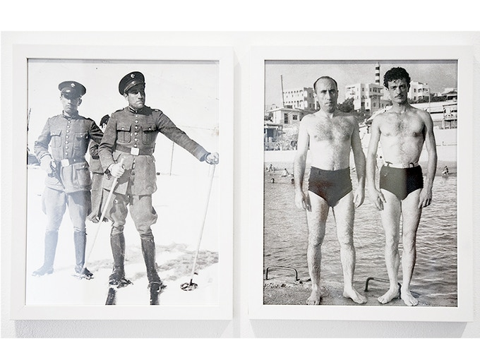 """Diptych 3: 'Champion Skiers and Beirut Swimmers, from the collection of Diab Alkarssifi', Drift/Resolution series, A Lebanese Archive, Ania Dabrowska, 2013, b&w photographs, digital C-type prints, each photograph 11"""" x 14"""", framed"""