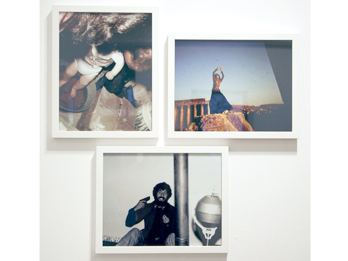 """Triptych 1: 'Dancer, Fighter, Baby, from the collection of Diab Alkarssifi', Drift/Resolution series, A Lebanese Archive, Ania Dabrowska, 2013, b&w and colour photographs, digital C-type prints, each photograph 11"""" x 14"""", framed"""