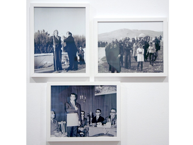 """Triptych 2: 'Speaker, Funeral Women, Freemasons, from the collection of Diab Alkarssifi', Drift/Resolution series, A Lebanese Archive, Ania Dabrowska, 2013, b&w and colour photographs, digital C-type prints, each photograph 11"""" x 14"""", framed"""