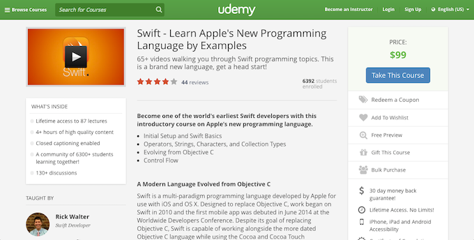 Swift by Examples Course on Udemy