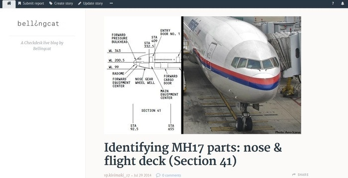 Using Meedan's Checkdesk to examine the remains of flight MH17