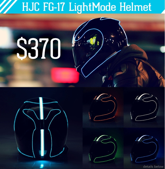 lightmode electroluminescent motorcycle helmets by thomas order a fully functional complete hjc fg 17 lightmode helmet 3 meters of el wire