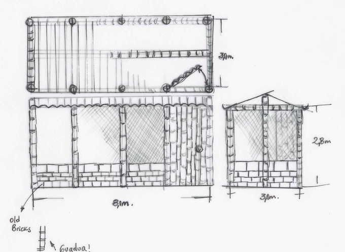 This is a sketch of the plans for the chickens' new home.