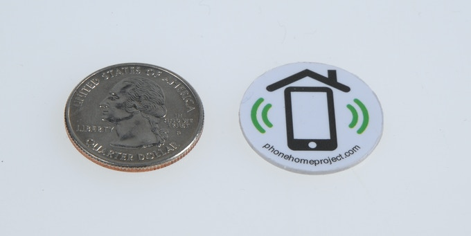 NFC Tags are the size of a quarter and feel like a well crafted poker chip in your hand. Diameter of 25 mm