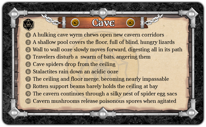 Cave Variable Card - Roll of 1-10