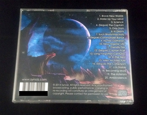 Test copy of the Frontiers CD rear case in jewelcase