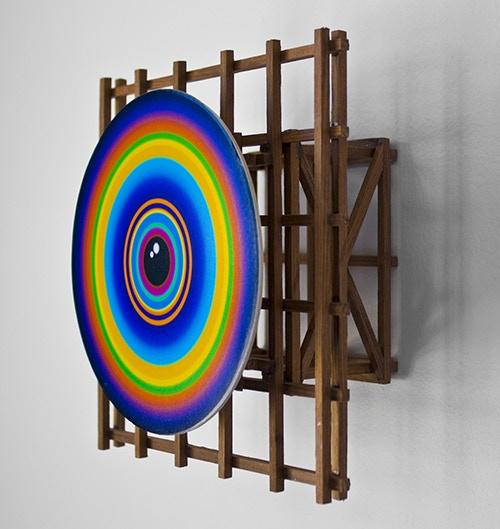 "Panoptic Vortex #6, wood & digital print, 2014, 7"" x 7"" x 3.5"""