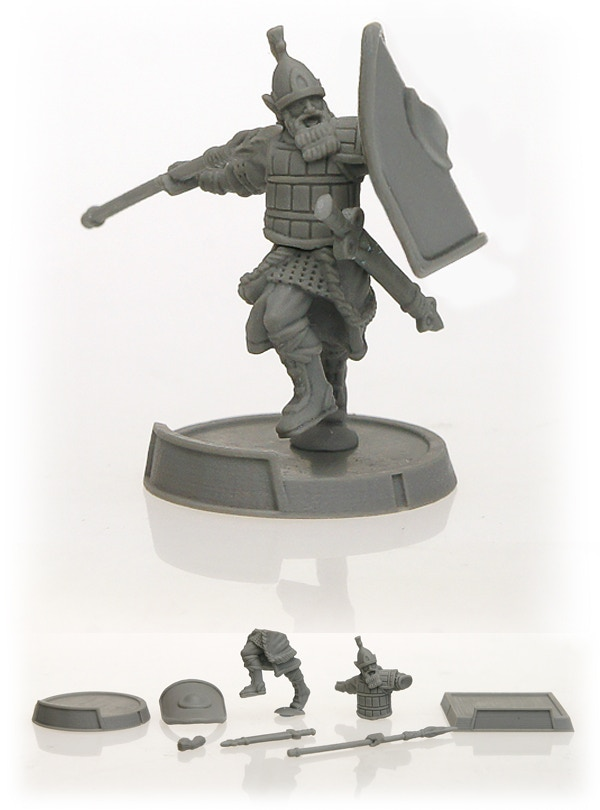 This is a photo of the 3D print of the Akkiri Elf Champion and bases. You can see him assembled and in separated bits. This is also how each miniature will come: the multi-part miniature in metal + 1 round and 1 square metal base.