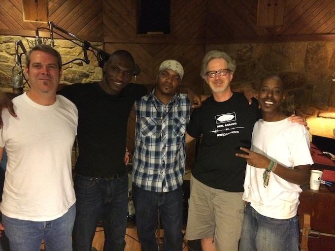 (left to right) Amos Harvey, Cedric Burnside, Garry Burnside, Scott Bomar & Trenton Ayers at Electraphonic Recordings Memphis, TN