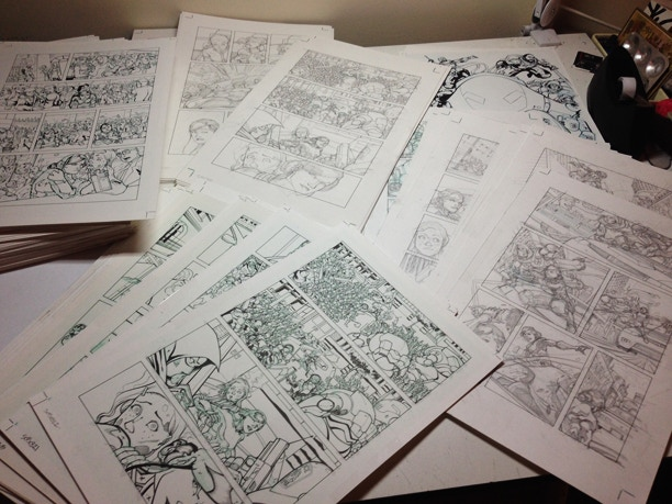 Original art pages, both pencils and inks, from issues 1 - 4
