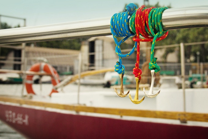 Blue cord with rose gold, red with gold anchor and green on silver platted anchor