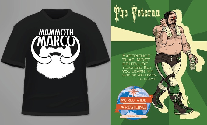 """Mammoth Marco"" shirt from playtest series ""Wednesday Night Wars""; Season One: The Veteran print (work-in-progress)"