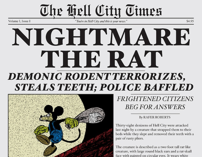 The collection itself is designed to look like a special edition of the Hell City Times