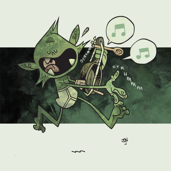 This is Howltooth, Jon's favourite goblin, rocking out on his Lute of Awesomeness +1
