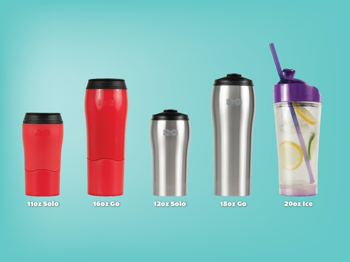 Full Mighty Mug Line you can choose from left to right - Mighty Mug Solo Plastic, Mighty Mug Go Plastic, Mighty Mug Solo Stainless, Mighty Mug Go Stainless, Mighty Mug Ice
