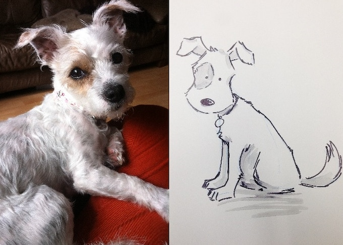 Sofiel's dog is based on my very own furbaby. This is Juno. To have yourself and your pet illustrated by Ilan in the style of the book, check out our rewards section!