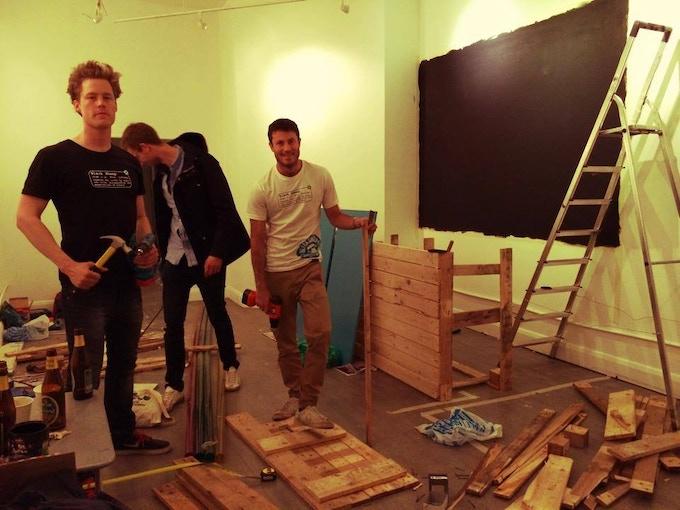 Max, Gabe and Eirik building the 69 Camden High Street pop-up