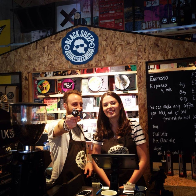 Liv and Angelito at the Marble Arch Urban Outfitters Black Sheep espresso bar